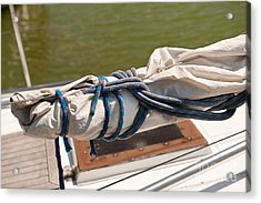 Rolled Up Mast Sail Cloth Acrylic Print