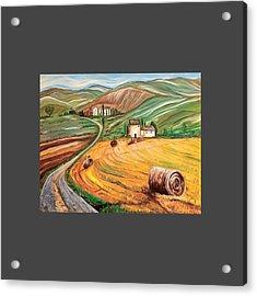 Rolling Fields Of Tuscany Acrylic Print by Anupama Arora Mallik