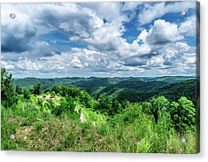 Rolling Hills And Puffy Clouds Acrylic Print