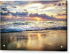 Rolling In With The Tide Acrylic Print by Debra and Dave Vanderlaan