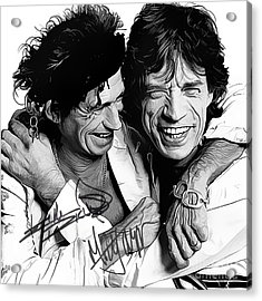 Rolling Stones Art With Autographs Acrylic Print by Kjc
