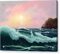Acrylic Print featuring the painting Rolling Waves by Sena Wilson