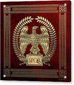 Roman Empire - Gold Imperial Eagle Over Red Velvet Acrylic Print