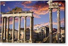 Roman Forum On Fire Acrylic Print