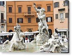 Roman Fountain Acrylic Print by Charles  Ridgway