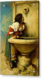 Acrylic Print featuring the painting Roman Girl At A Fountain by Leon Bonnat