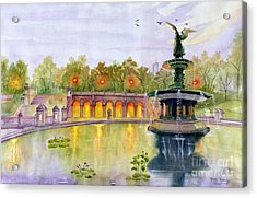 Romance At Central Park Nyc Acrylic Print