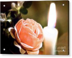 Acrylic Print featuring the digital art Romance In A Peach Rose by Linda Phelps