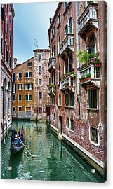 Gondola Ride Surrounded By Vintage Buildings In Venice, Italy Acrylic Print