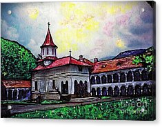 Romanian Monastery Acrylic Print by Sarah Loft