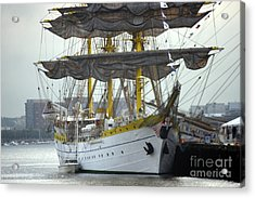 Romanian Tall Ship Acrylic Print by Jim Beckwith