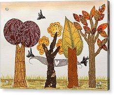Romantic Autumnal Grove Acrylic Print by Graciela Bello