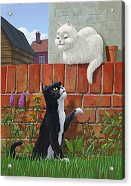 Romantic Cute Cats In Garden Acrylic Print by Martin Davey