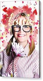 Romantic Female Nerd In A Celebration Of Love Acrylic Print