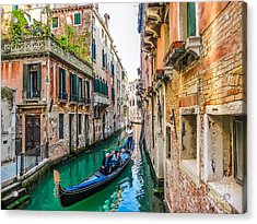 Romantic Gondola Scene On Canal In Venice Acrylic Print