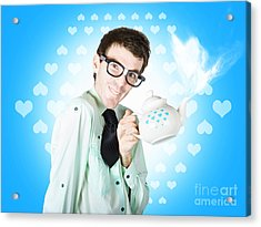 Romantic Male Dork Offering Coffee Love To Date Acrylic Print