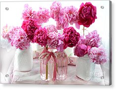 Romantic Pink Red Peonies - Shabby Chic Valentine Red Peonies  Acrylic Print by Kathy Fornal