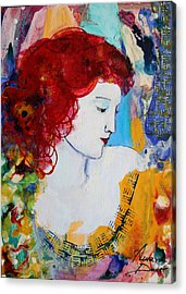 Romantic Read Heaired Woman Acrylic Print by Amara Dacer