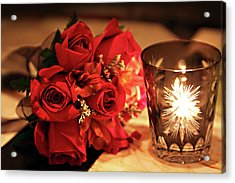 Romantic Red Roses In Candle Light Acrylic Print