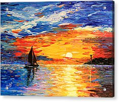 Acrylic Print featuring the painting Romantic Sea Sunset by Georgeta  Blanaru