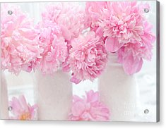 Romantic Shabby Chic Pink Pastel Peonies - Pink Peonies In White Mason Jars Acrylic Print by Kathy Fornal
