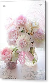 Shabby Chic Pink White Peonies - Shabby Chic Peonies Pastel Pink Dreamy Floral Wall Print Home Decor Acrylic Print