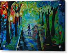 Acrylic Print featuring the painting Romantic Stroll by Leslie Allen