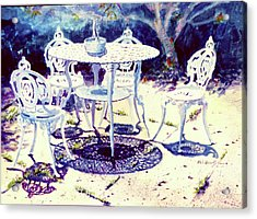Romantic White Garden Acrylic Print by Estela Robles