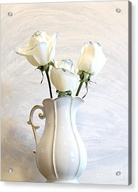 Romantic White Roses Acrylic Print by Marsha Heiken