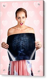 Romantic Woman In Love With Butterflies In Tummy Acrylic Print