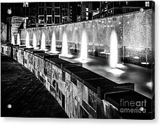 Romare Bearden Park Fountain Black And White Photo Acrylic Print