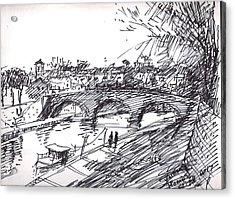 Bridge At Isola Tiberina Rome Sketch Acrylic Print by Ylli Haruni