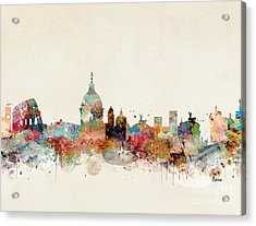 Acrylic Print featuring the painting Rome Italy Skyline by Bri B