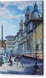 Rome Piazza Navona Acrylic Print by Ylli Haruni