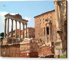 Acrylic Print featuring the mixed media Rome The Eternal City And Temples by Rosario Piazza
