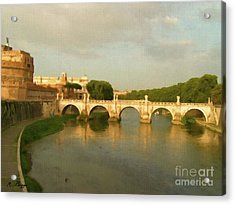 Acrylic Print featuring the painting Rome The Eternal City And Tiber River by Rosario Piazza