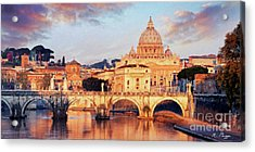 Acrylic Print featuring the mixed media Rome The Eternal City - Saint Peter From The Tiber by Rosario Piazza