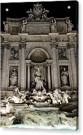 Rome - The Trevi Fountain At Night 3 Acrylic Print