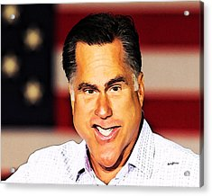 Romney Caricature Acrylic Print by Anthony Caruso