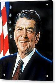 Ronald Reagan Portrait Acrylic Print by Robert Korhonen