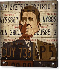 Ronald Reagan Presidential Portrait Made Using Vintage California License Plates Acrylic Print by Design Turnpike