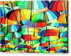 Roof Made From Colorful Umbrellas Acrylic Print