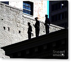 Rooftop Cops Acrylic Print by Wingsdomain Art and Photography