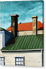 Rooftops City Houses Painting Acrylic Print by Linda Apple