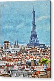 Rooftops In Paris And The Eiffel Tower Acrylic Print