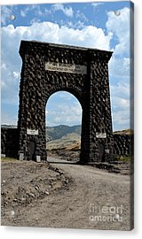 Roosevelt Arch 1903 Gate Old Time Dirt Road Yellowstone National Park Watercolor Digital Art Acrylic Print by Shawn O'Brien