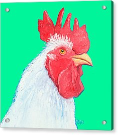 Rooster Art On Green Background Acrylic Print