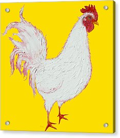 Rooster Art On Yellow Background Acrylic Print