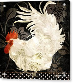 Rooster Damask Dark Acrylic Print by Mindy Sommers
