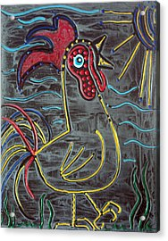 Rooster Acrylic Print by Laura Barbosa